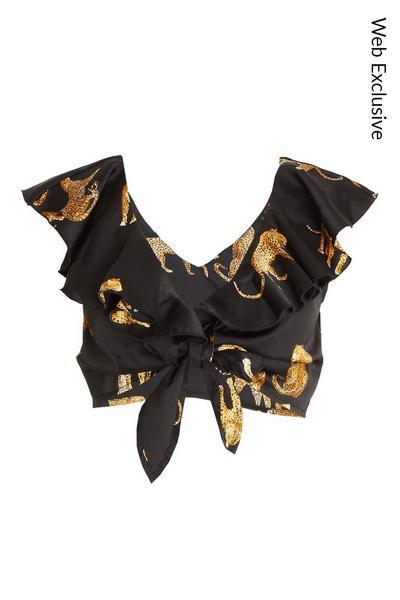 Black Satin Leopard Crop Top